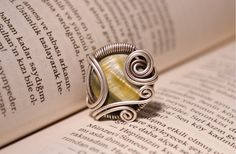 Mother of pearl ring. Wire wrapped jewelry by BeyhanAkman on Etsy.