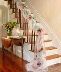 Tulle Wedding and Bridal Shower Decorations from Wyla Lace at Tulle Decorations, Wedding Decorations On A Budget, Bridal Shower Decorations, Wedding Ideas, Wedding Inspiration, Wedding Staircase Decoration, Wedding Stairs, Wedding House, Wedding Halls