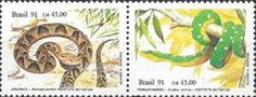 Sello: Snakes (Brasil) (Reptiles and Dinosaurs) Mi:BR 2415-2416,Yt:BR 2019-2020