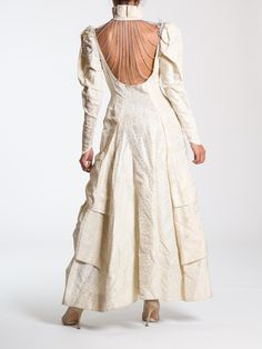 Morphew Lab Reworked 1940s Marie Antoinette Renaissance Style Opera Costume White Jacquard Chain and Crystal Cutout Jacket with Train
