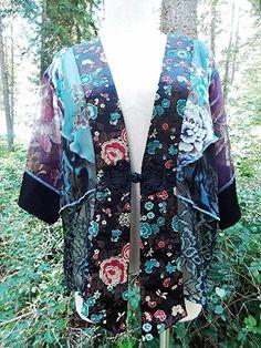 Spencer Alexis Blouse Size Large Kaftan Floral BOHO Kimono Jacket Caftan Top #SpencerAlexis #Kaftan #Career