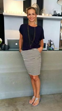 Simple for when summer is really hot, navy tee, striped skirt and t-bar sandals