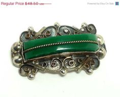 Mexican Sterling Silver Brooch with Green and by thejewelseeker