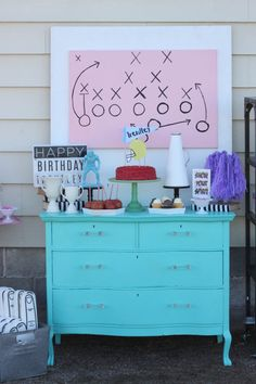 Girly Flag Football Birthday Party - cute ideas for decor, food + more! Flag Football Party, Football Birthday, Football Fever, 12th Birthday, Cake Birthday, Girl Birthday, Sports Themed Birthday Party, Sports Party, Birthday Cakes For Teens