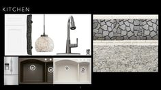 Collage 2 - tile, quartz, pull, pendant, composite sink Composite Sinks, Design Boards, Tile, Quartz, Collage, Pendant, Kitchen, Inspiration, Biblical Inspiration