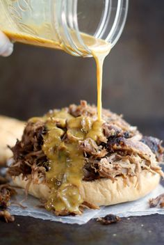 This amazing recipe for Award Winning Honey Mustard Pulled Pork is a party for your taste buds. This easy Southern recipe makes the best pulled pork you will ever taste. Oven Roasted Pulled Pork, Pulled Pork Roast, Pulled Pork Recipes, Sauce For Pulled Pork, Sauce For Pork Roast, Pulled Pork Sliders, Pork Meat, Bbq Pork, Honey Mustard Recipes