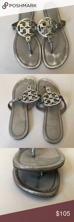 Tory Burch Miller sandals Tory Burch Miller sandals. Silver snake print. Size 10. A little lifting on some of the snake print. Otherwise good condition. No box and no trades. Tory Burch Shoes Sandals