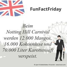 #FunFactFriday bei THE BRITISH SHOP: Beim Notting Hill Carnival werden 12.000 Mangos, 16.000 Kokosnüsse und 70.000 Liter Karottensaft verspeist.