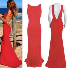 Sleeveless Deep V-Cut Back Asymmetrical Maxi Dress from Lionheart Couture. Saved to Things I want as gifts.