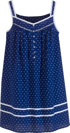 Eileen West summer chemise with grosgrain ribbon detail and button-front placket. Polka dotted cotton lawn nightgown features contrasting cloud-white polka dots , a must-have for seaside getaways. Cotton Nighties, Cotton Dresses, Clothing Patterns, Dress Patterns, Pinterest Fashion, Summer Blues, Nightwear, Night Gown, Blouse Designs