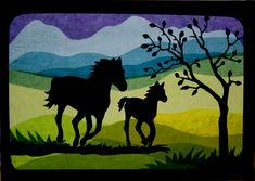 Fensterschmuck - Fensterbild Pferde auf der Wiese, Transparent - ein Designerstück von Juliane-Buness bei DaWanda