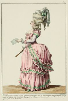 """A Most Beguiling Accomplishment: Galerie des Modes, 13e Cahier, 5e Figure (1778). Caption & long description translated by @Cassidy. """"Young Lady in a Circassienne of Italian gauze with a petticoat made of the same gauze; the flounce is trimmed with a colored ribbon.  She is coiffed with a kerchief-pouf cap trimmed with pearls, with a plume on the left side in the Asiatic style. Very elegant circassienne with amadis sleeves;* the bodice is closed, with a trim all around it, higher in the…"""