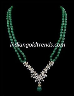 Latest Indian Gold and Diamond Jewellery Designs: Emerald Beads with diamond pendant