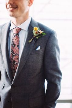 d96f25230523 Details of the groom's dark gray suit with colorful tie @myweddingdotcom  Wedding Groom, Wedding