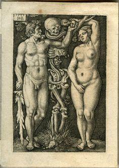Hans Sebald Beham - Adam & Ève (1543) - Gravure, 8,2 x 5,6 cm.