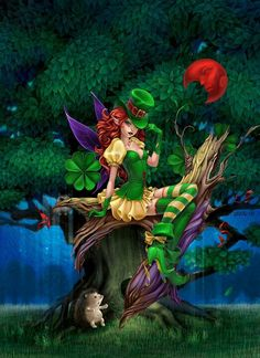 Irish Fairy: I can't remember where I found this. Please leave a comment if you know the name of the artist. Fairy Dust, Fairy Land, Fairy Tales, Magical Creatures, Fantasy Creatures, Leprechaun Pictures, Gothic Fantasy Art, Fantasy Fairies, Fairy Pictures