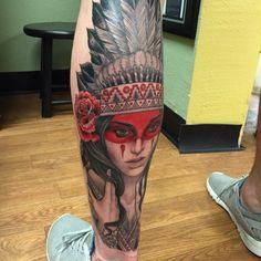 """Finished tattoo by Chicano Tattoos Sleeve, Forarm Tattoos, Leg Tattoo Men, Hot Tattoos, Body Art Tattoos, Tattoos For Guys, Red Indian Tattoo, Indian Arrow Tattoo, Indian Girl Tattoos"
