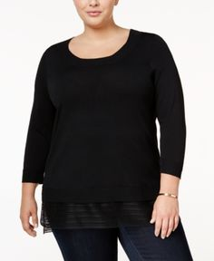 Calvin Klein Plus Size Layered-Look Sweater - Black 0X