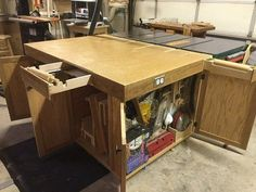 Table saw, router, outfeed, assembly, down-draft table.