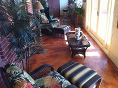 Florida Room, Overlay, Stained concrete, Cola Acid Stain, Concrete Sealer. Stain Concrete, Concrete Finishes, Stamped Concrete, Acid Stain, Shag Rug, Overlays, Florida, Exterior, Home Decor