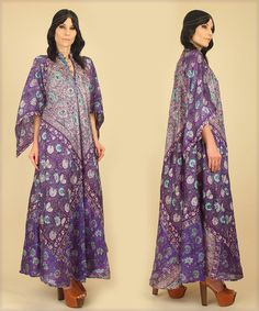 ViNtAgE 70's Rare DEADSTOCK INDIAN Silk Caftan by hellhoundvintage