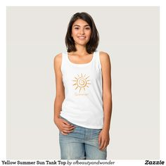 75c49d00a11d7 Yellow Summer Sun Tank Top Cute Tank Tops