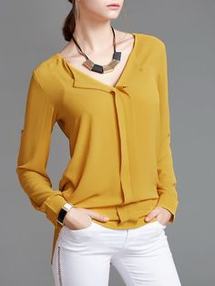 Shop Blouses - Yellow V Neck Long Sleeve Solid Blouse online. Discover unique designers fashion at StyleWe.com.