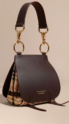 14eaeecdb7 Dark clove brown The Bridle Bag in Leather and Haymarket Check 1