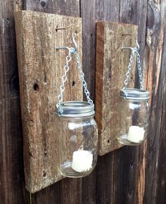 Rustic barn wood mason jar wall sconces by Thesalvagednail on Etsy, $35.00