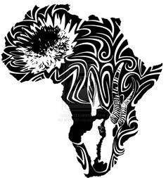 Tattoo design for my South African mate. The King Protea is the national flower, the Springbok the national animal. Also, silly deviantart for not accep. lke e: lxarra llke Boho Tattoos, Celtic Tattoos, Unique Tattoos, Tatoos, African Map, African Textiles, African Tree, African Symbols, Afrika Tattoos