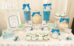 A&K Lolly Buffet L's Fundraiser / Blue and white - Photo Gallery at Catch My Party Lolly Buffet, Candy Buffet, Frozen Party, Frozen Birthday, Fundraiser Party, Sweet Station, Tiffany Party, 40th Birthday Parties, Birthday Ideas