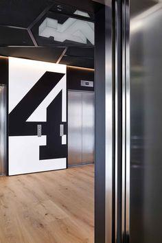 Queen Caroline Street Interior Design Lift Corridor Mesh Signage