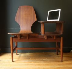 Plycraft Gossip Bench /  Mid Century Bentwood Telephone Chair Table. via Etsy.