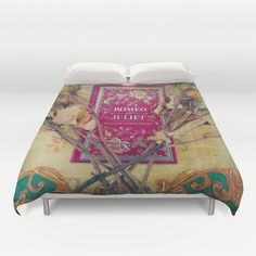 Romeo and Juliet Duvet Cover: home decor, bedroom, bedding, Shakespeare, book, hipster, librarian, literary, red, blue, roses