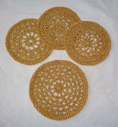 Crochet Golden Coaster  Icelandic Production by HuldaGK on Etsy