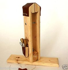 Leather stitching Pony vise with tools pocket, sitting or top table use