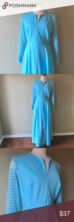 """Vintage Light Blue Maxi Dress with Lace Sleeves Beautiful vintage robin's egg blue maxi dress with lace sleeves. Full zip up back. Notched neckline. No size, brand, or material tags. Feels like polyester. Measures 20"""" armpit to armpit, 16"""" across flat waist, 58"""" shoulder to hem. Best for sizes 8/10 (M). In excellent vintage condition.   ⭐️⭐️Bundle and Save ⭐️⭐️ Vintage Dresses Maxi"""