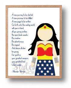 Wonder Woman Printable Art / Wonder Woman Quote / Graduation Gift / Warrior Princess Art / Decor for Girls / Girl Gift *Instant Download*