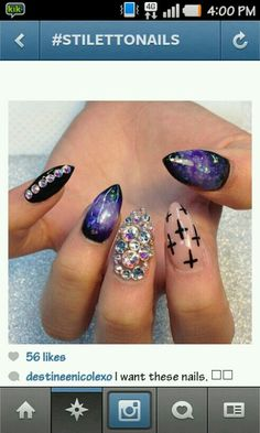 I love these , cute , different, style, stilleto nails Get Nails, Love Nails, How To Do Nails, Gorgeous Nails, Pretty Nails, Fabulous Nails, Perfect Nails, Stilettos, Nail Time