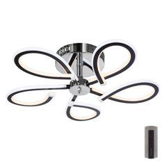 Designowy żyrandol z nowoczesną LED technologią.       Zmiana barwy światła 1700 - 6500 K.       Funkcja ściemniania.        Zdalne sterowanie Bathroom Hooks, Ceiling Fan, Led, Living Room, Ceiling Fan Pulls, Ceiling Fans