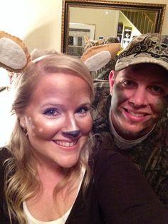 Hunter and Deer Couples Halloween costume idea. #doe #diy #costume #deer #couples #halloween #makeup