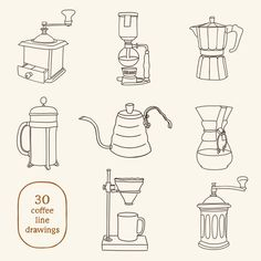 Great for decoration, card making, menu planning and cafe decor. Coffee Doodle, Coffee Latte Art, Coffee Icon, Coffee Illustration, Line Illustration, Coffee Line, Clipart Png, Coffee Infographic, Coffee Equipment