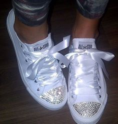 "White sparkly converse shoes... Cover up the ""Converse""wording on the tongue with ""Mrs"" on the left and ""Branford"" on the right!!"