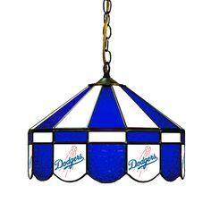 """The Los Angeles Dodgers 16"""" Stained Glass Lamp - Los Angeles Dodgers Fan Cave Pool Table Lighting"""