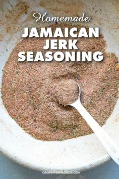 Homemade Jamaican Jerk Seasoning - Make your own Jamaican jerk seasoning blend at home with this easy recipe, filled with loads of piquant and aromatic spices. via Simple Food Recipes, Food Recipes Deserts Jamaican Dishes, Jamaican Recipes, Jamaican Jerk Rub Recipe, Rice And Peas Jamaican, Jamaican Desserts, Jamaican Beef Patties, Oxtail Recipes, Jamaican Cuisine, Homemade Spices