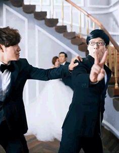 Yoo Jaesuk & Kim Jongkook at HaHa's wedding photoshoot Running Man Funny, Running Man Korean, Running Humor, Korean Tv Shows, Korean Variety Shows, Korean Actors, Kim Jong Kook, Kdrama Memes, Japanese Drama