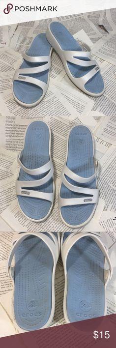 """90d4640e91cb Crocs Patricia Wedge Sandal Light Blue White W8 Crocs Patricia Wedge Sandal  Massaging Footbed 2"""""""