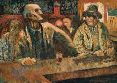 Noel Counihan 'Wine Bar', 1961 45.5 x 63.5 cm oil on composition board
