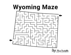 Mazes For Kids Printable, Free Printables, Homeschooling 3rd Grade, Coloring Books, Coloring Pages, Activity Sheets For Kids, Montessori Art, Maze Puzzles, Wyoming State