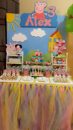 Dessert table at a Peppa Pig birthday party! See more party ideas at CatchMyParty.com! Peppa Pig Princesa, Cumple Peppa Pig, George Pig Party, Kids Dessert Table, Dessert Table Birthday, 3rd Birthday Parties, Third Birthday, Pepper Pig Party Ideas, Peppa Pig Birthday Ideas
